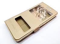 Чехол книжка с окошками momax для Meizu U10 золотой