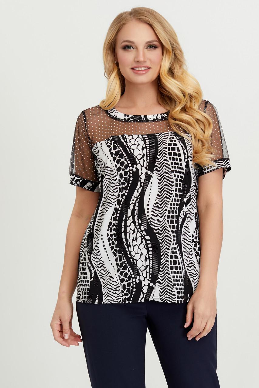 Блуза черно-белая Люся 62