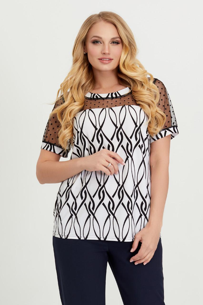 Блуза бело-черная Люся 56
