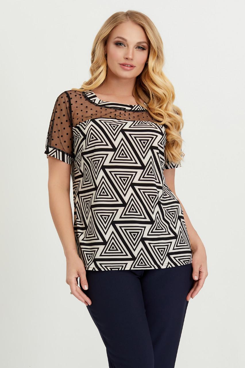 Блуза бежево-черная Люся 54