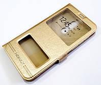Чехол книжка с окошками momax для Meizu X8 золотой