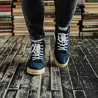 Мужские зимние ботинки South Navy Blue. Натуральная замша и мех. Премиум качество