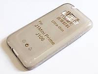 Чехол для Samsung Galaxy J1 Mini Prime J106 силиконовый ультратонкий прозрачный серый