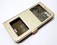 Чехол книжка с окошками momax для Xiaomi Redmi 6A золотой