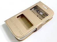 Чехол книжка с окошками для Samsung Galaxy Star Plus s7262 / s7260 золотой