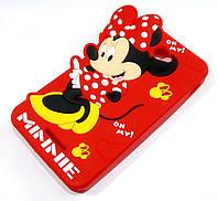Чехол детский для Sony Xperia E4 dual e2115 силиконовый объемный игрушка Минни Маус красный