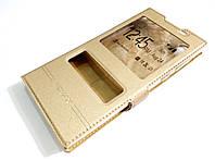 Чехол книжка с окошками momax для Sony Xperia L1 g3311 / g3312 / g3313 золотой