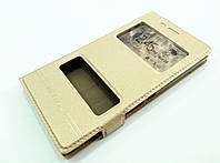 Чехол книжка с окошками для Sony Xperia M2 Dual d2302 / d2305 золотой