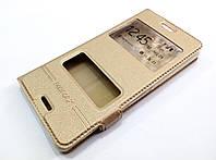 Чехол книжка с окошками momax для Sony Xperia M4 Aqua e2312 / e2303 / e2333 золотой