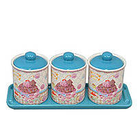 "Набор банок для хранения сыпучих продуктов ""Sweet"" YX345, с подставкой, в комплекте 3 банки, 2 вида, керамика,"