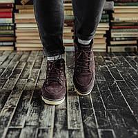 Мужские зимние ботинки South Indigo coffee. Натуральная замша и мех. Премиум качество