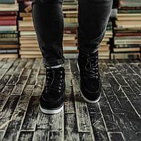Мужские зимние ботинки South Indigo black. Натуральная замша и мех. Премиум качество
