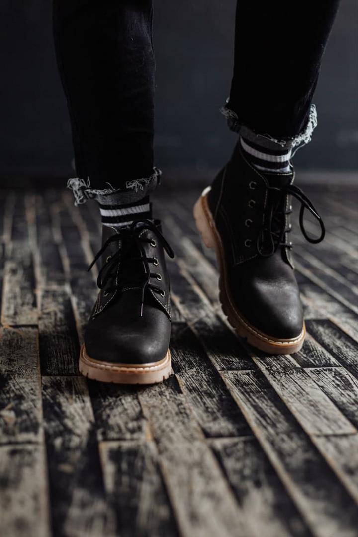 Чоловічі зимові черевики South Jaston black. Натуральна шкіра та хутро. Преміум якість