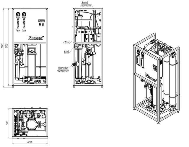 Картинка установка промышленного обратного осмоса Nerex lpro140