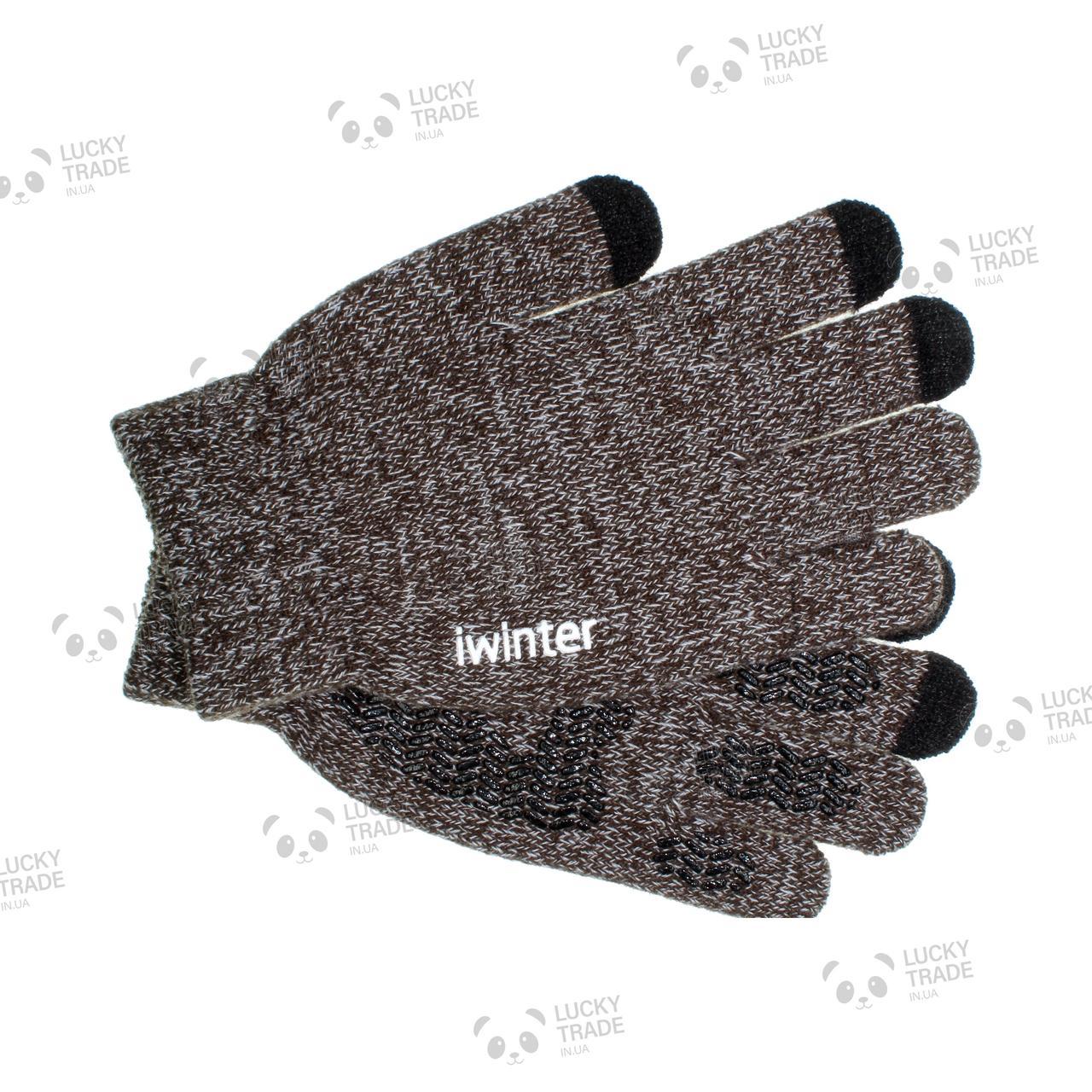 Зимние теплые перчатки iWinter для сенсорных экранов мужские женские Size М Коричневый / Белый (D-Z01) [1887]