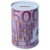 """Металлическая копилка - банка для денег """"500 евро"""" размер 10х15см, сиреневая, копилка, копилки, банка для"""