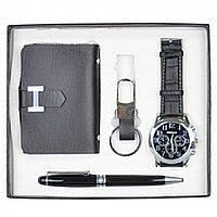 Набор мужской подарочный Globba в комплекте: наручные часы, шариковая ручка, визитница, брелок, 17х20см,