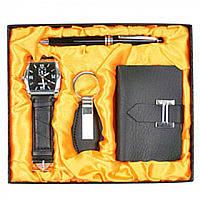 Набор мужской подарочный Gladiolus в комплекте: наручные часы, шариковая ручка, визитница, брелок, 17х20см,