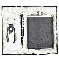 Набор подарочный мужской Gillenia в комплекте: фляга-нержавеющая сталь, 14х9,5см, шариковая ручка, брелок,