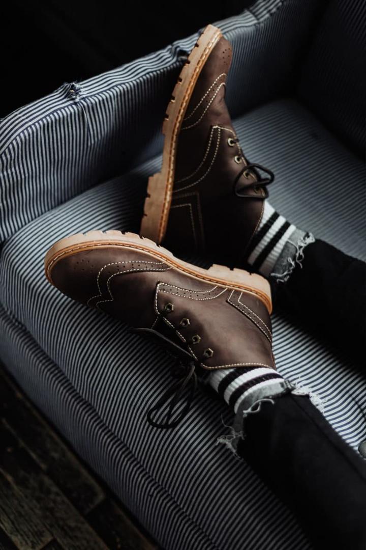 Чоловічі зимові черевики South Rebel brown. Натуральна шкіра та хутро. Преміум якість