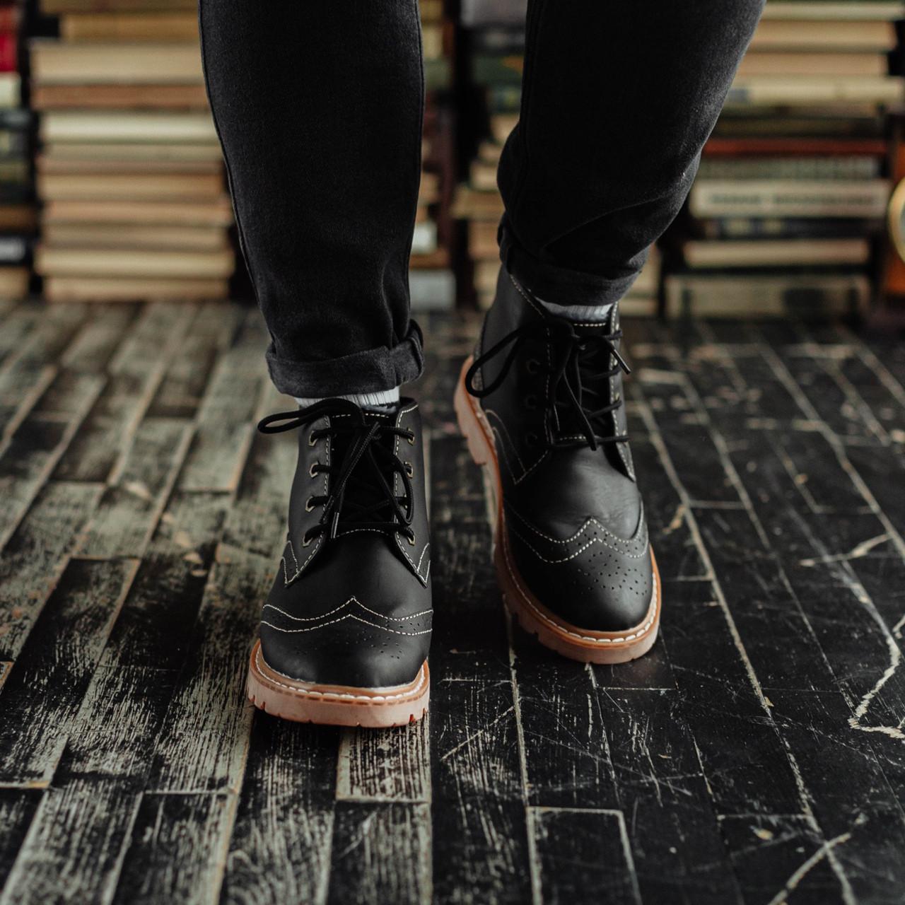 Мужские зимние ботинки South Rebel black. Натуральная кожа и мех. Премиум качество