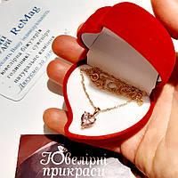 Колье с кулоном Топаз сердечко в оправе медзолото - классический солидный подарок в футляре любимой девушке