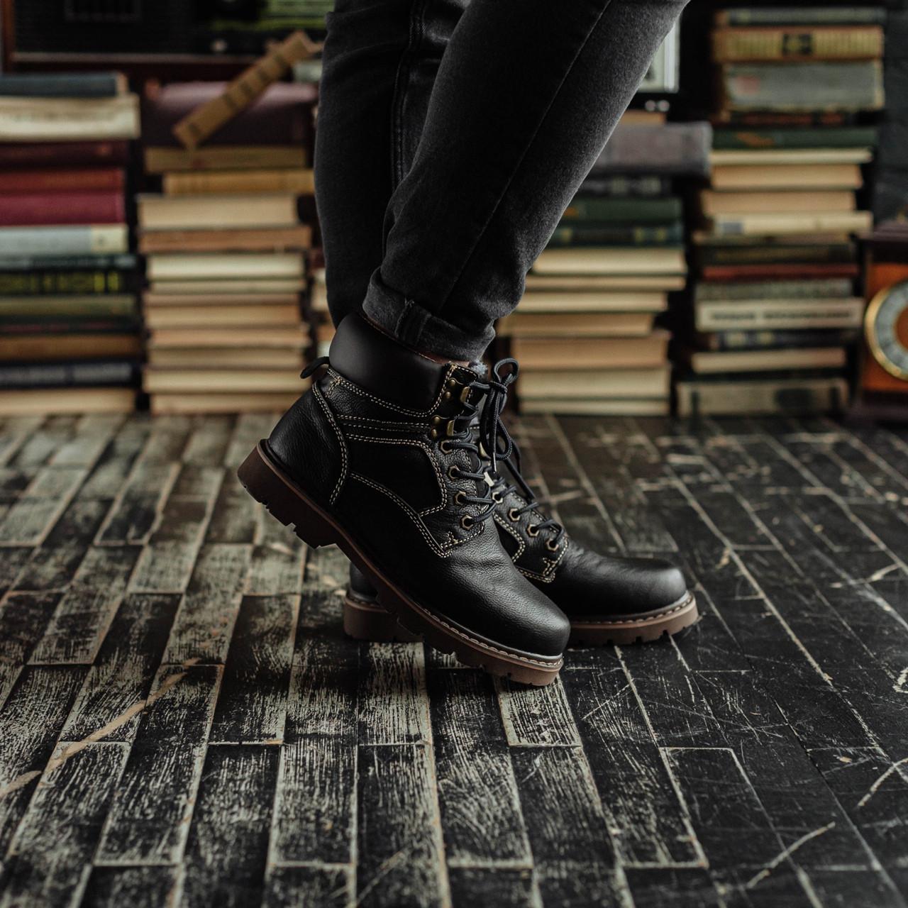 Мужские зимние ботинки South Craft black. Натуральная кожа и мех. Премиум качество