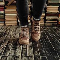 Мужские зимние ботинки South Ferro apricot. Натуральная замша и мех. Премиум качество