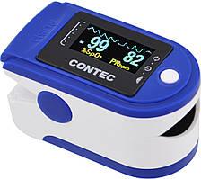 Пульсометр оксиметр на палец (пульсоксиметр) CONTEC CMS50D TFT Blue