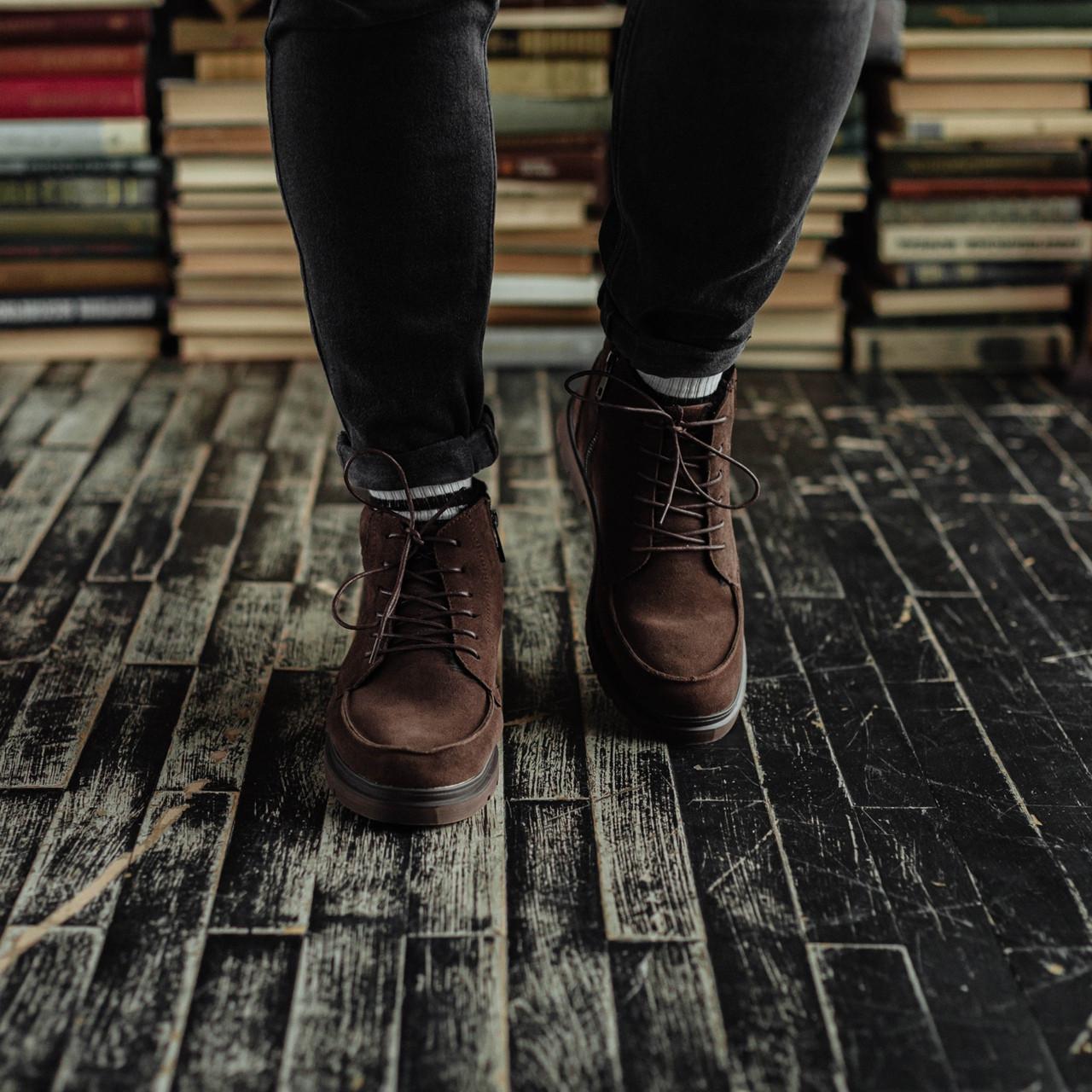 Чоловічі зимові черевики South Flip coffe. Натуральна замша і хутро. Преміум якість