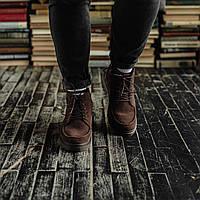 Мужские зимние ботинки South Flip coffe. Натуральная замша и мех. Премиум качество
