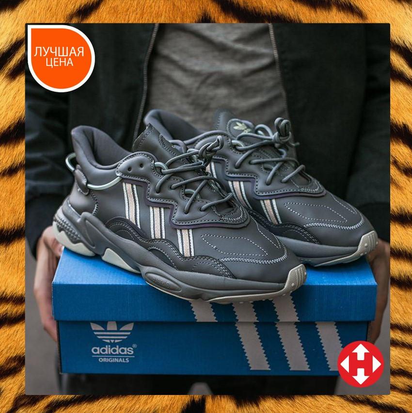 🔥 Кроссовки женские повседневные для спорта зала тренировок Adidas Ozweego адидас озвиго серые кожаные