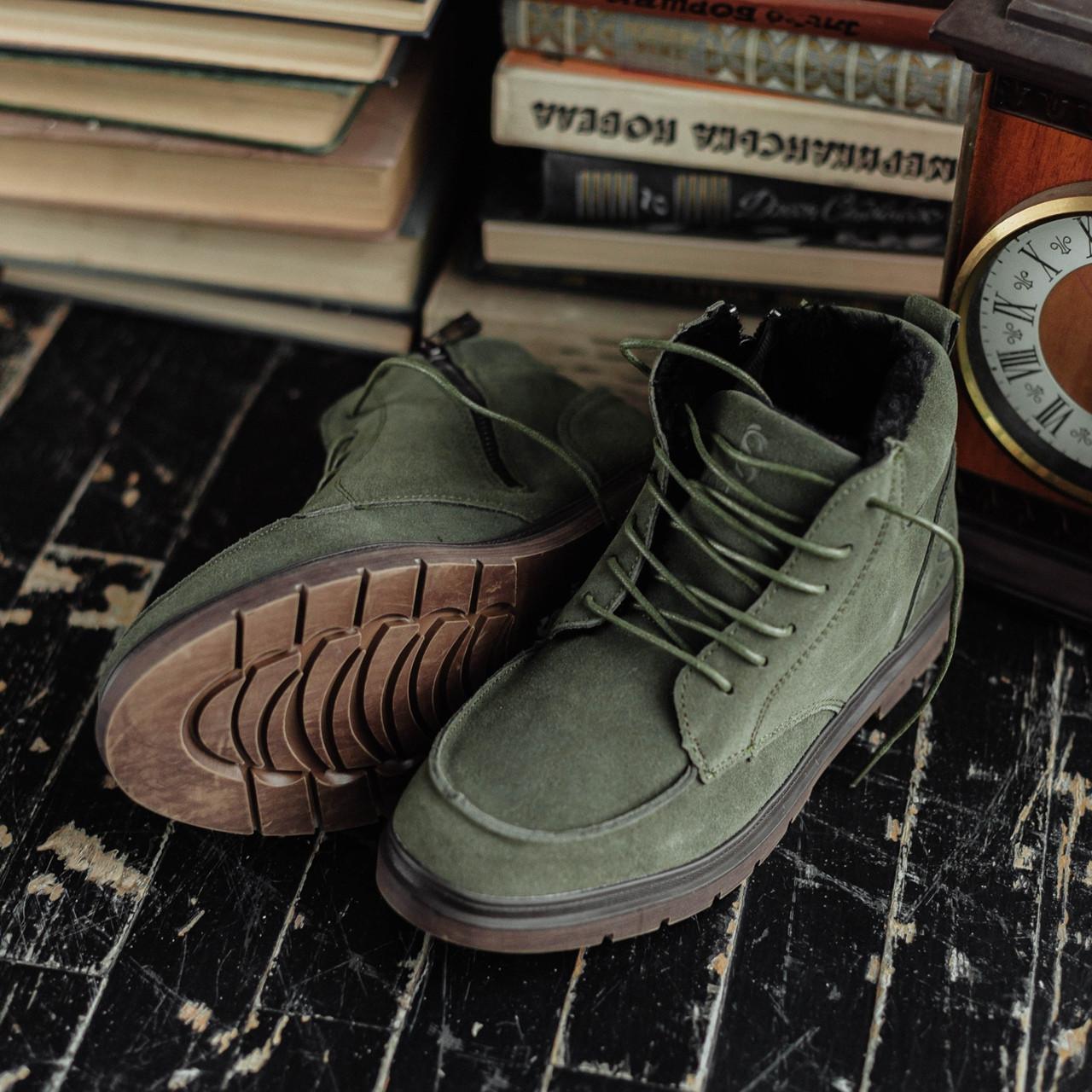 Мужские зимние ботинки South Flip green. Натуральная замша и мех. Премиум качество