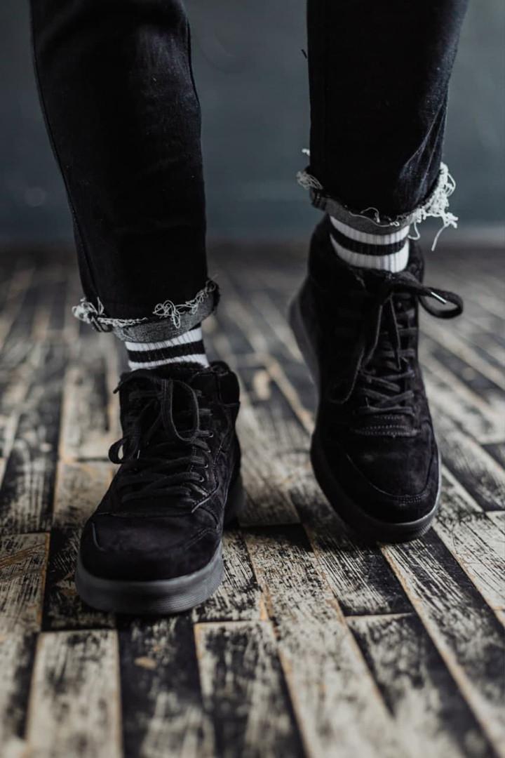 Мужские зимние ботинки South Oriole black. Натуральная замша и мех. Премиум качество