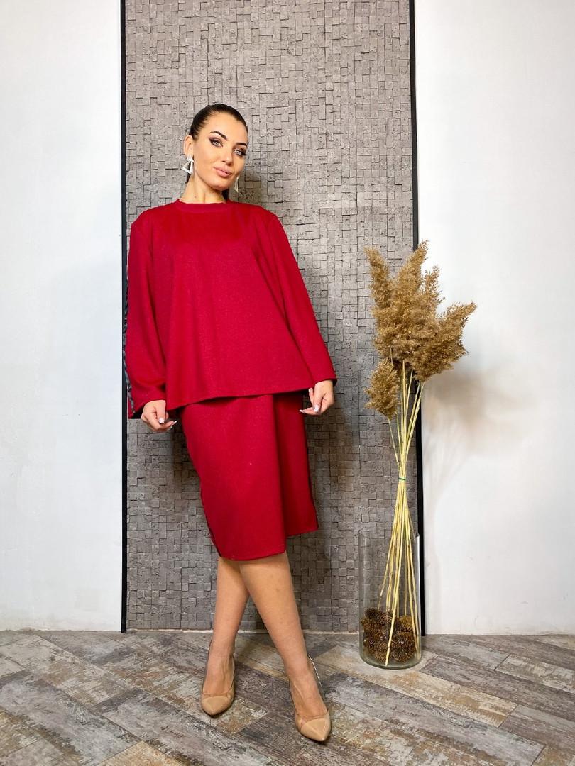Костюм юбка с блузоном в больших размерах (DG-ак 0650)
