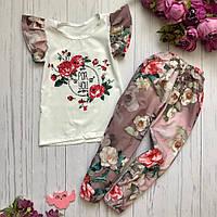 Детский летний костюм для девочки (футболка и штаны) с принтом BR-S 128 см 64 р. (1202665384)