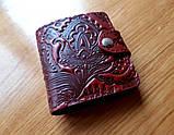 Маленький кожаный кошелек женский Восточный узор огурцы коричневый, Цветы Подсолнух Солнце Птицы Коты, фото 6