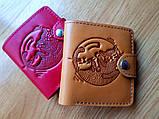 Маленький кожаный кошелек женский Восточный узор огурцы коричневый, Цветы Подсолнух Солнце Птицы Коты, фото 7