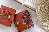 Маленький кожаный кошелек женский Петриковка коричневый, Восточный узор, Цветы Подсолнух Солнце Птицы Коты, фото 7