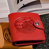 Маленький кожаный кошелек женский Солнце красный, Восточный узор, Цветы Подсолнух Петриковка Птицы Коты, фото 9