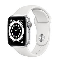 Apple Watch Series 6 44mm White Aluminum Case with Black Sport Band