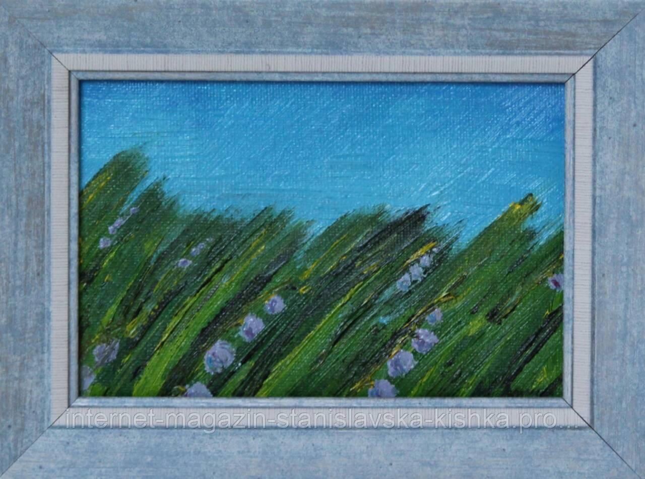 """Картина мініатюра """"Польові дзвіночки"""" 9,5×15"""