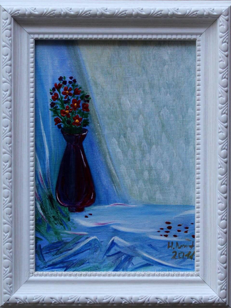 """Картина-мініатюра """"Квіти у вазі""""  14,5×20"""