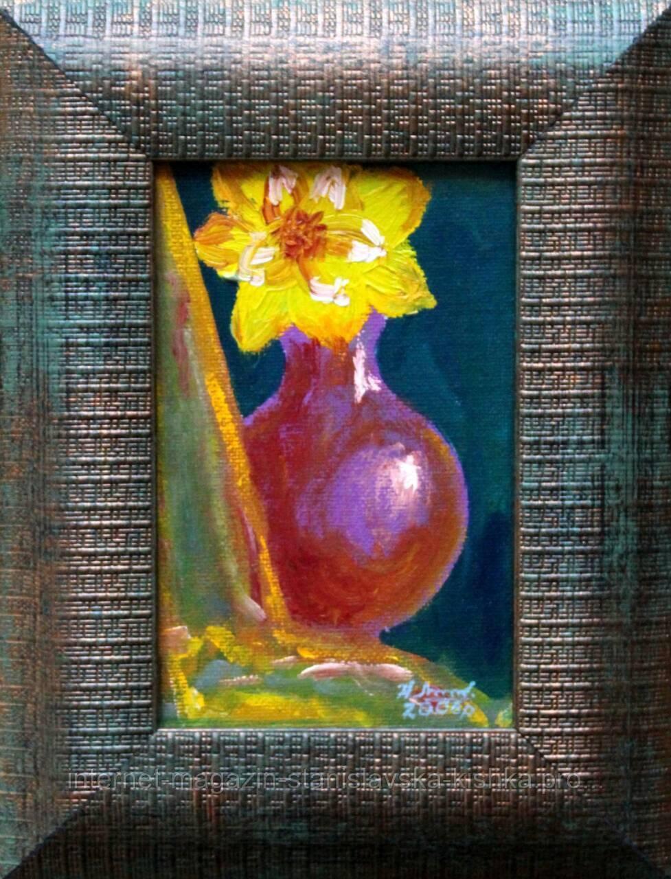 """Картина-мініатюра """"Нарцис у вазі""""  10×15"""