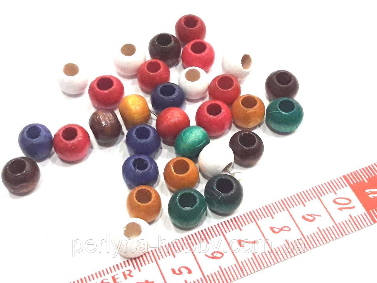 Бусины  деревянные лакированные.  Намистини  дерев'яні лаковані  10 мм.  Асорті різні кольори. Набір 50 шт.