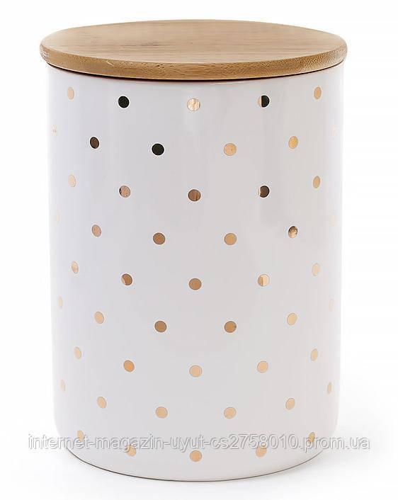 """Банка Gold Star """"Горох"""" для сыпучих продуктов 1225мл с бамбуковой крышкой"""