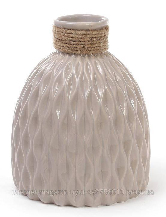 Ваза керамическая Stone Flower 18см, песочного цвета