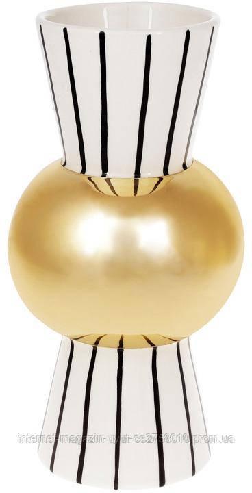 Ваза керамическая Kamarin 24см черные полосы с золотом