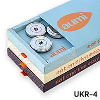 Подарочный набор UKR-4 в коробке, ореховые пасты AUMI фундучная, из грецкого, из семечек конопли и тыквы, фото 2