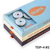 Подарочный набор TOP-4 №2 в коробке, ореховые пасты AUMI фундучная, арахисовая, десерты Карамель и Espresso, фото 2